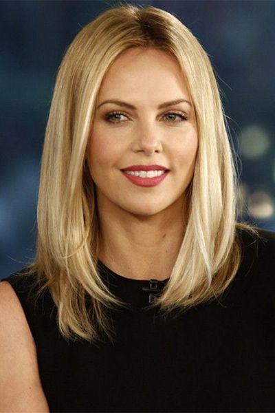 long blonde bob haircut - A long blunt bob parted down the middle is…