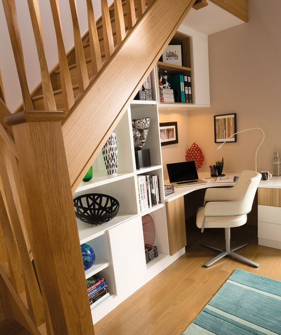 Study and shelving under stairs:
