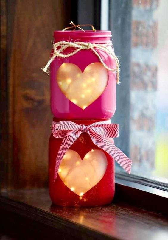 2 Valentine mason pint or Quart sized mason jar. What a fabulous way to decorate for any valentines This is for 2 Mason jars (lights are not included but can be purchased from us under light then fair