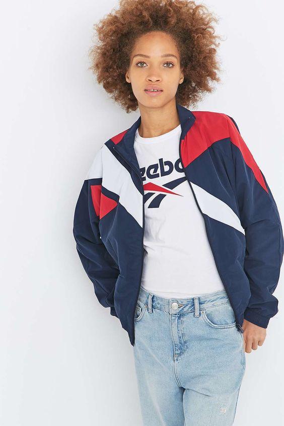 reebok veste zippe en color block style rtro - Color Block Vetement