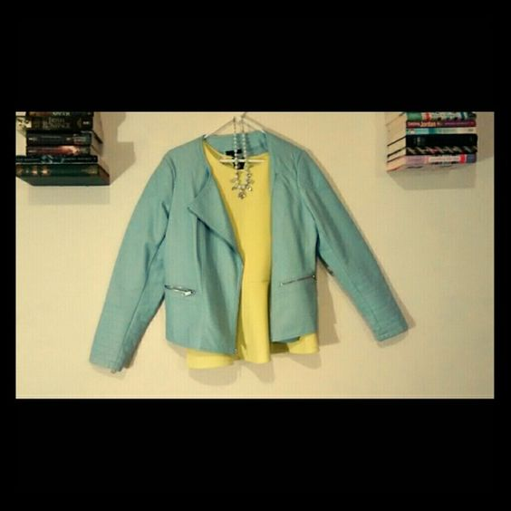 Blue Leather Jacket Fake leather, beautiful babyish blue! The color is really what sets this jacket apart! Great buy, just a little too big on me now, so make me some offers:) Apt. 9 Jackets & Coats