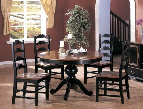 5pc Country Style Black Amp Dark Maple Finish Round Dining