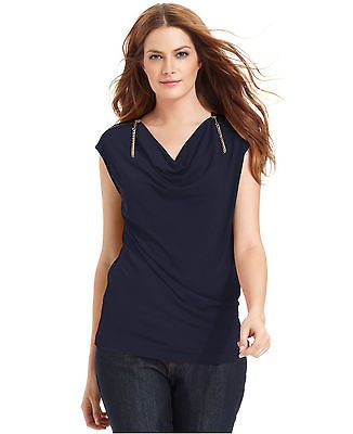 NWT-$79 MICHAEL KORS ~SMALL~ Logo Zipper-Shoulder Cowl-Neck Navy Top Cap-Sleeve