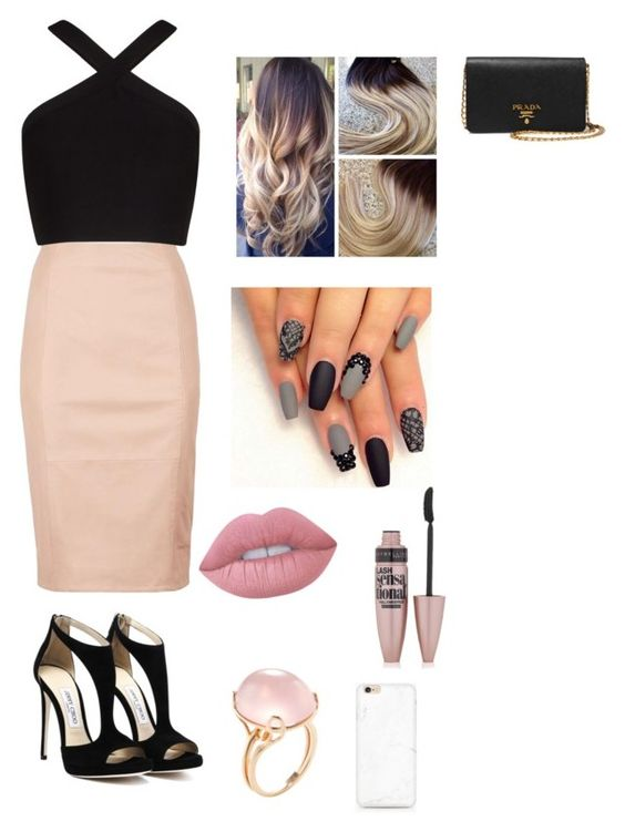 """""""party"""" by starstwinkle92 ❤ liked on Polyvore featuring Reiss, BCBGMAXAZRIA, Lime Crime, Maybelline, Goshwara and Prada"""