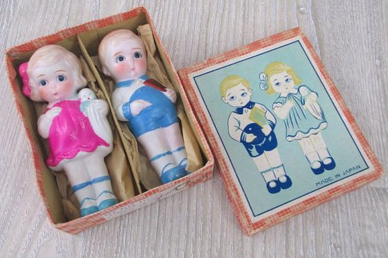 2 Vintage Bisque Boy Girl Doll Lot Japan by hauntedlampvintage