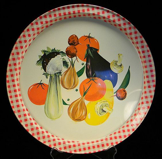 Vintage Colorful Fruits U0026 Vegetable Serving Tray