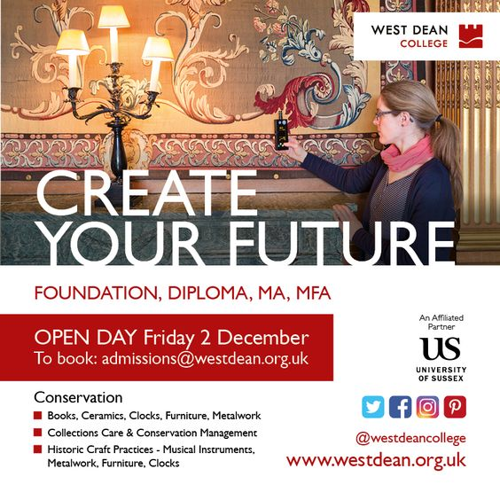 Interested in conservation and historic craft practices? Join us for our next Open Day, Dec 2nd an, Feb 4th, 2017, meet tutors, students, find out about funding and more.