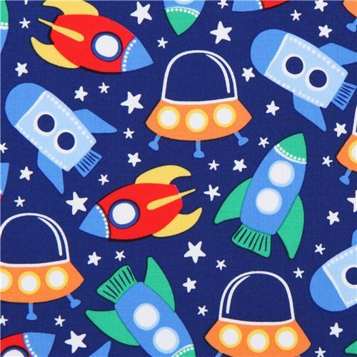 Blue spaceship space fabric michael miller space station for Kids space fabric