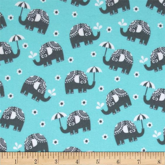Michael Miller Pastel Pop It's A Boy Thing Flannel Water for Elephants Aqua from @fabricdotcom  From Michael Miller, this soft double napped (brushed on both sides) flannel cotton print is perfect for quilting, apparel and home decor accents.  Colors include aqua, white and charcoal.