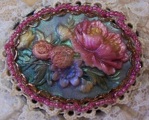 polymer clay lace | Beautiful Polymer Clay and Lace Floral Broach