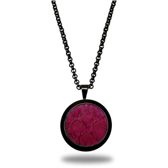 Women's Necklace by Marlin Birna Deep Pink Atlantic Salmon Leather... (€57) ❤ liked on Polyvore featuring jewelry, necklaces, handcrafted necklaces, leather pendant, adjustable necklace, leather chain necklace and pendant necklaces