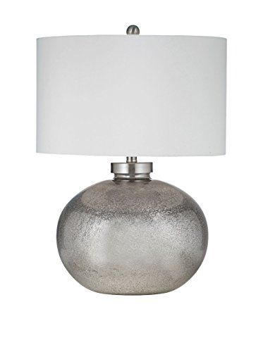 Bassett Mirror Company Gardena Table Lamp, Silver Leaf & Black