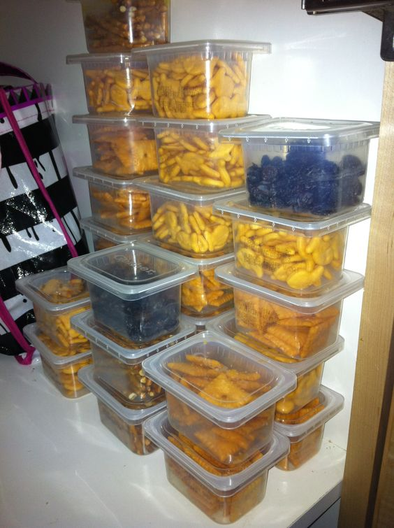 Recycle plastic baby food containers to use for snacks for the kids. Buy in bulk and then put in containers. Cheaper than buying the individual snacks. Kids can get snack themselves while you still have portion control.