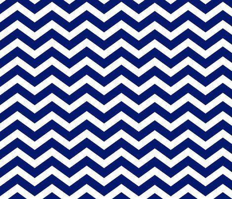 Dark Royal Blue Chevron Fabric By Blissdesignstudio For