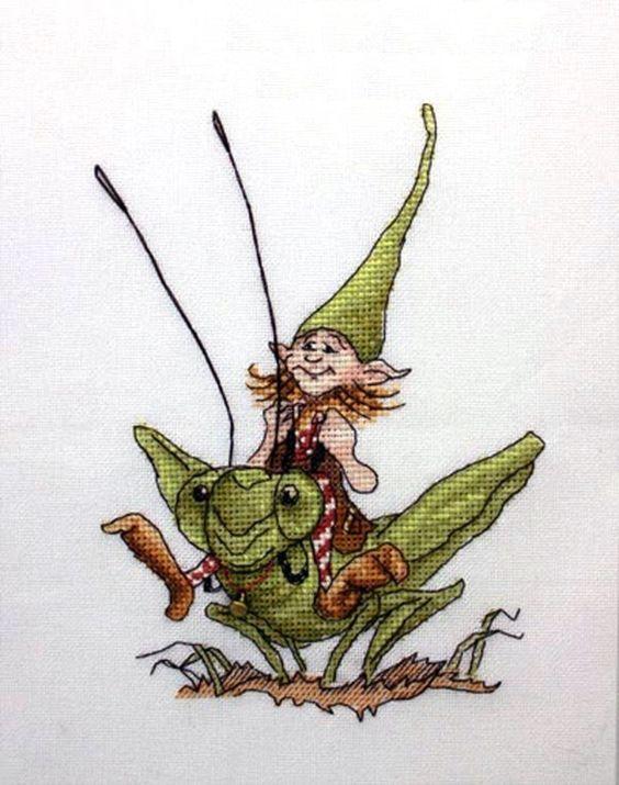 duende en saltamontes 1-cross stitch neocraft