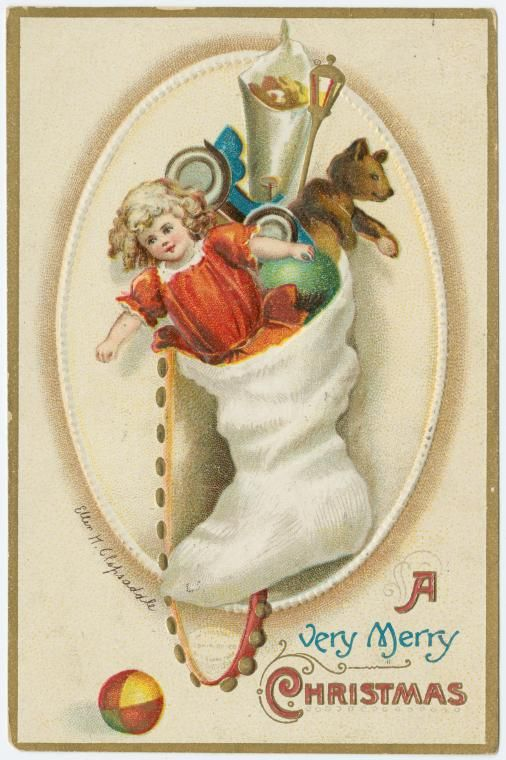 1928 A very merry Christmas ! One of 100s of Free Christmas Vintage prints that you can Print from the New York Public Library Gallery