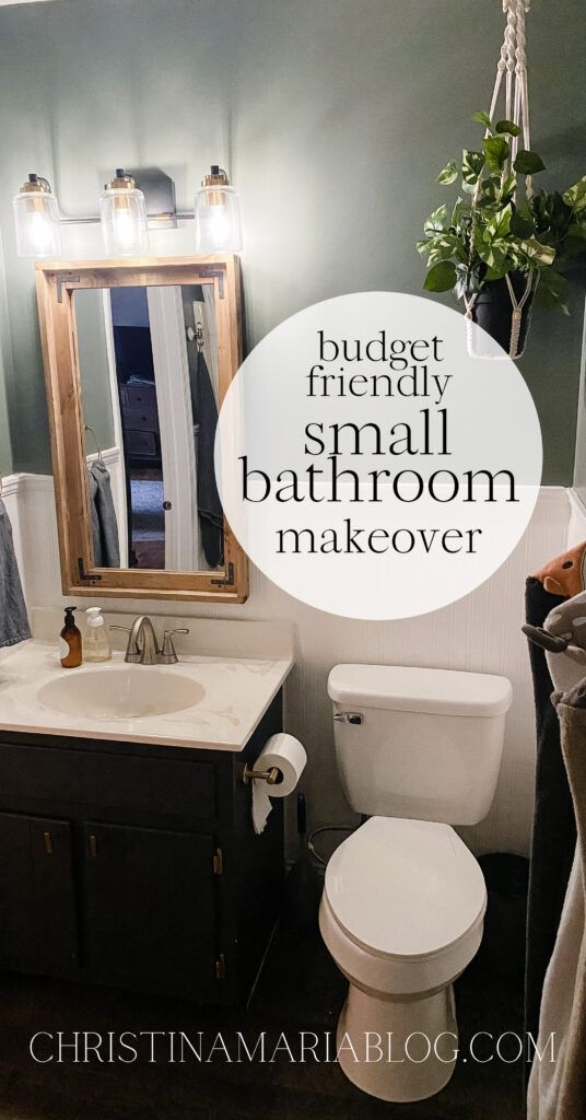 Budget Friendly Small Bathroom Makeover In 2021 Small Bathroom Makeover Bathroom Makeover Diy Bathroom Remodel