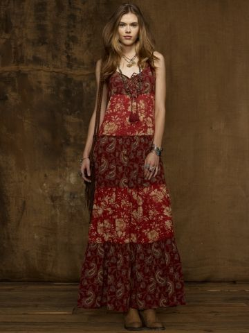 Lace-Up Gauze Maxidress - Denim & Supply  Maxi Dresses - RalphLauren.com