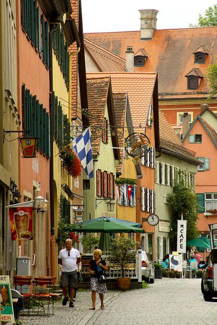 idyllic street of Dinkelsbühl in Bavaria, Germany