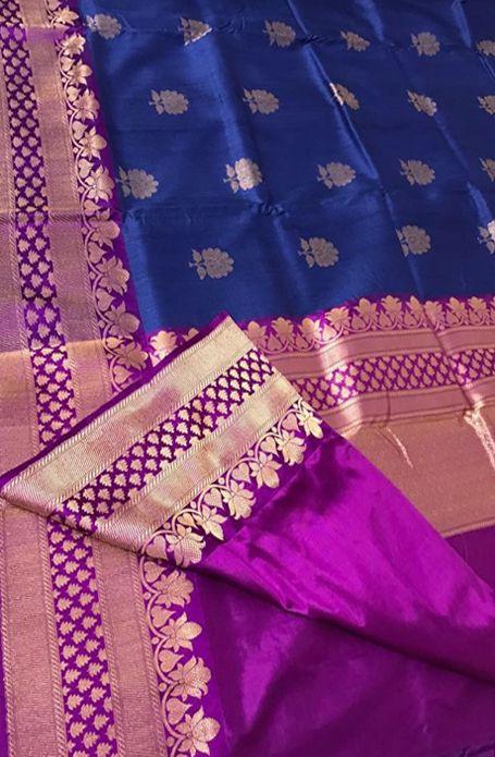Blue Handloom Banarasi Tussar Silk Saree #banarasisaree#silksaree#
