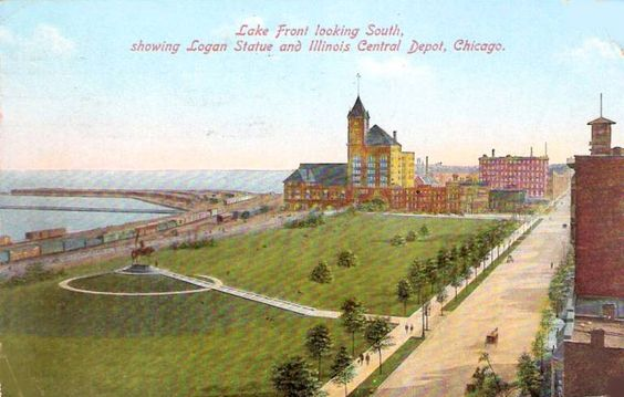X+POSTCARD+-+CHICAGO+-+LAKE+FRONT+-+LOGAN+STATUE+-+ILLINOIS+CENTRAL+STATION+-+AERIAL+-+1910.jpg (768×490)