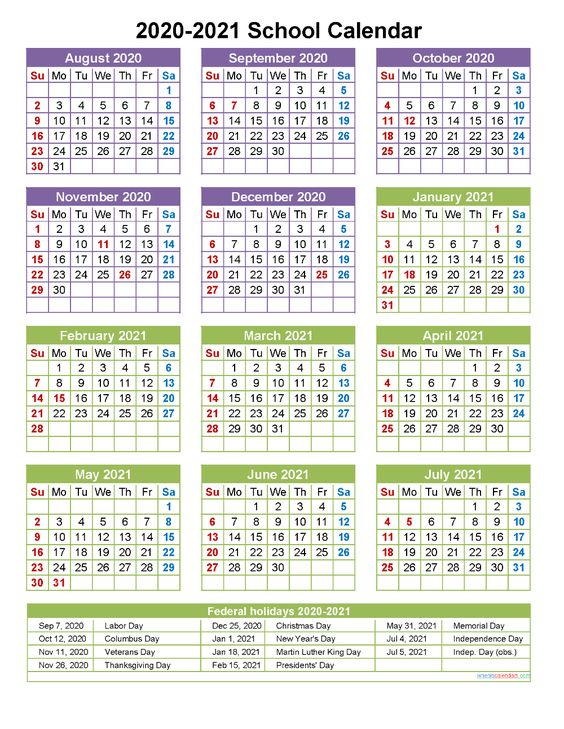 free school calendar 2020 and 2021 printable