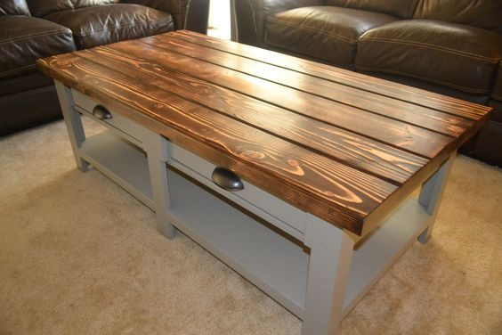 Diy benchwright coffee table with drawers living room for Diy coffee table with drawers