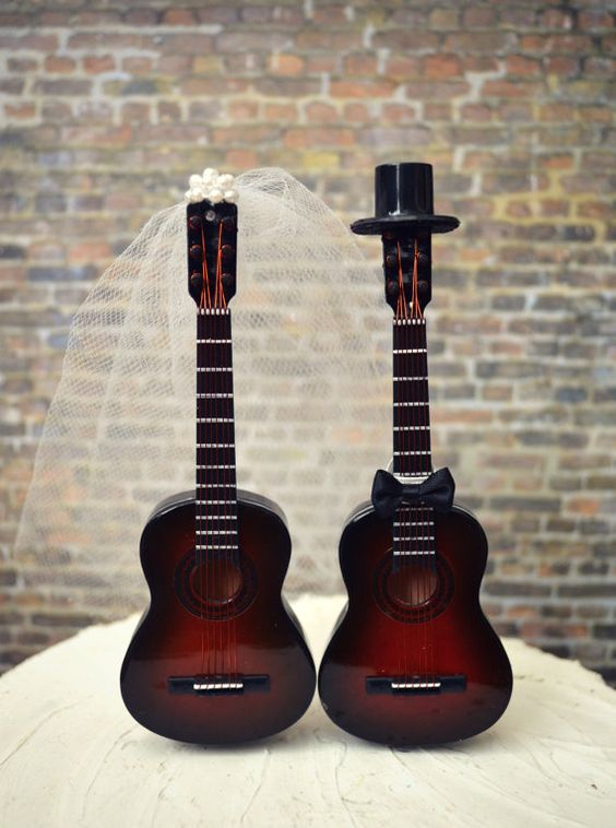 guitar wedding cake toppers guitar wedding cake topper musician wedding cake topper 15019