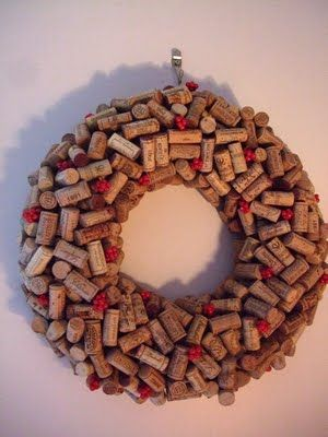 Cork wreath @Jen Larson you could do this with the color corks you pinned.