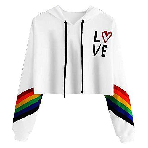 Womens Long Sleeve Sweatershirt Casual Rainbow Print Printed Top Pullover Shirts Blouses