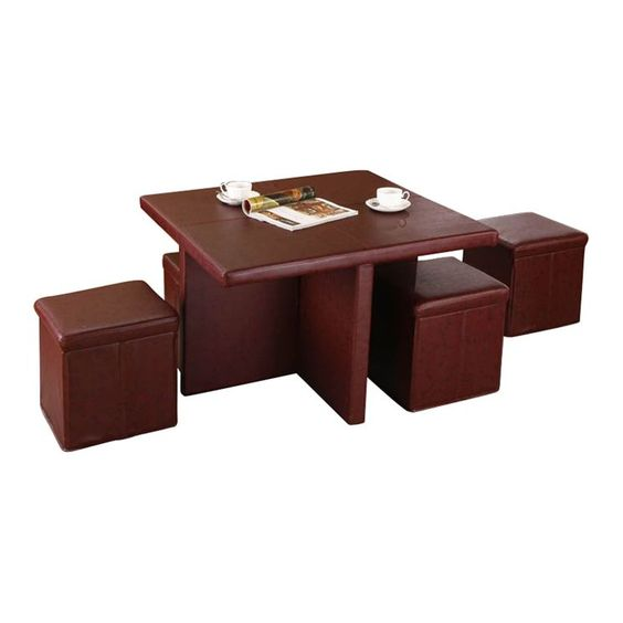 5 Piece Coffee Table Ottoman Set In Burgundy Great Option For Additional Seating In A Small