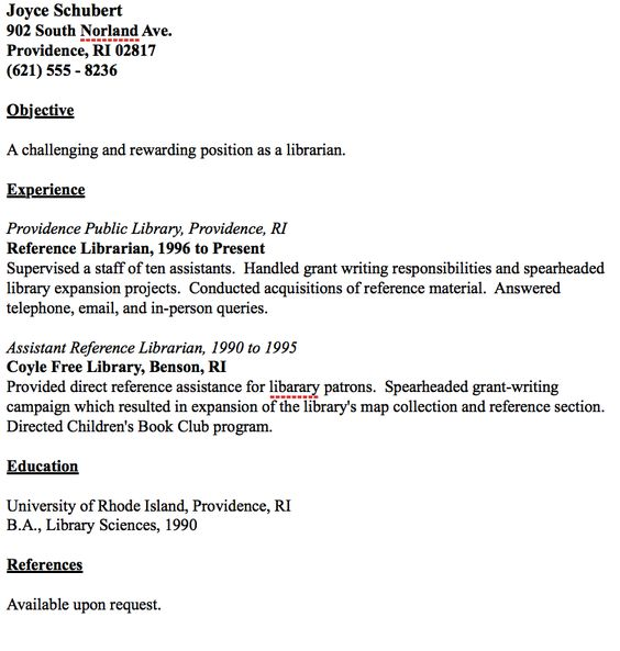 librarian resume 11 example Resumes and Interviews Pinterest - librarian resume