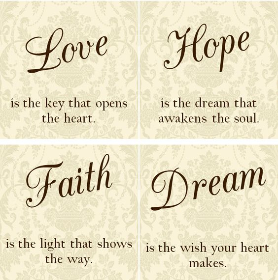 Love Faith Hope Quotes: LOVE Hope Faith Dream Tile Coasters Set Of By
