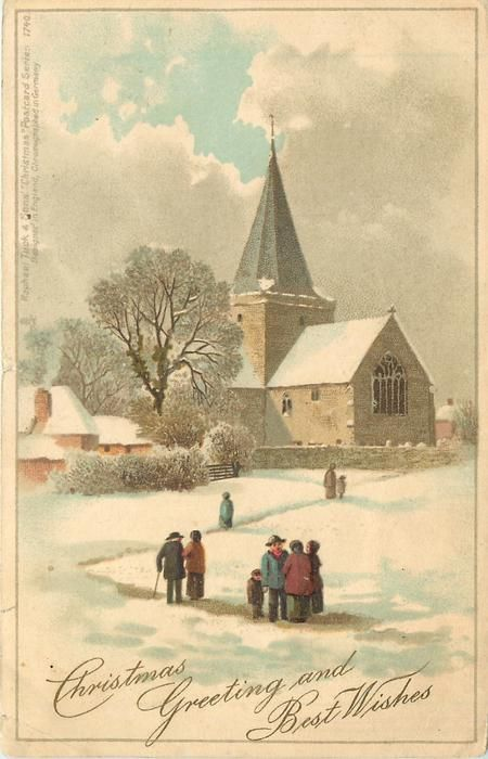 CHRISTMAS GREETINGS AND BEST WISHES  snow scene people going to church-DESIGNED IN ENGLAND-23/12/1904