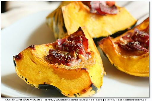 Baked Carnival Squash with Smoked Bacon and Rosemary (hold the bacon ... & this could be yum!)