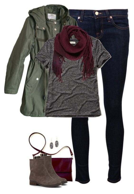 winter outfit, woman outfit, jeans, gray booties, maroon purse, army green jacket, gray t shirt, maroon scarf