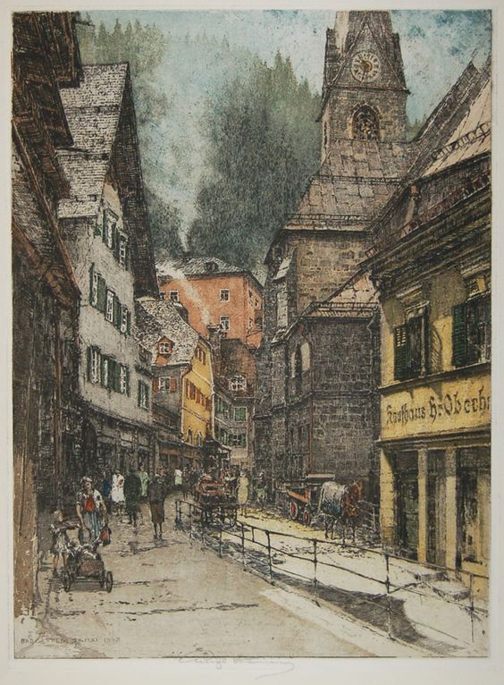 Luigi Kasimir, 1881-1962, Austrian, Bad Gastein, Kirche (Main Street), color etching with aquatint: