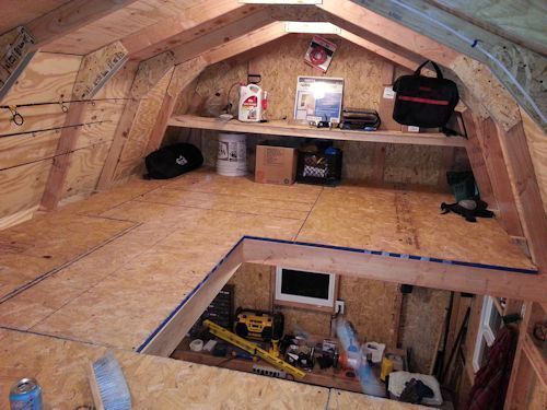 This shed loft is being used to keep fishing gear neat and