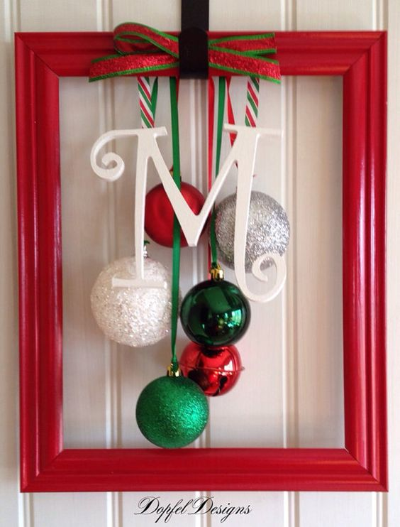 Whimsical Christmas Ornament Frame For The Door