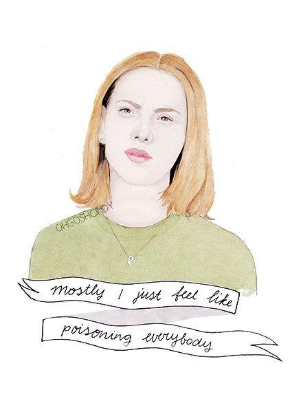 Rebecca Scarlett Johansson from Ghost World watercolour portrait PRINT by ohgoshCindy #art #ghostworld #etsy