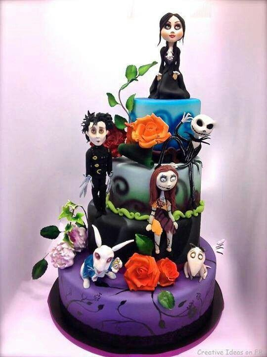 Fun Halloween Cake! Not Sure of All the Characters, But Edward Scissorhands is there, and the White Rabbit with His Watch, I Think That's Jack and Sally and Their Dog, Not Sure Who's on Top and It's Probably the Most Famous!