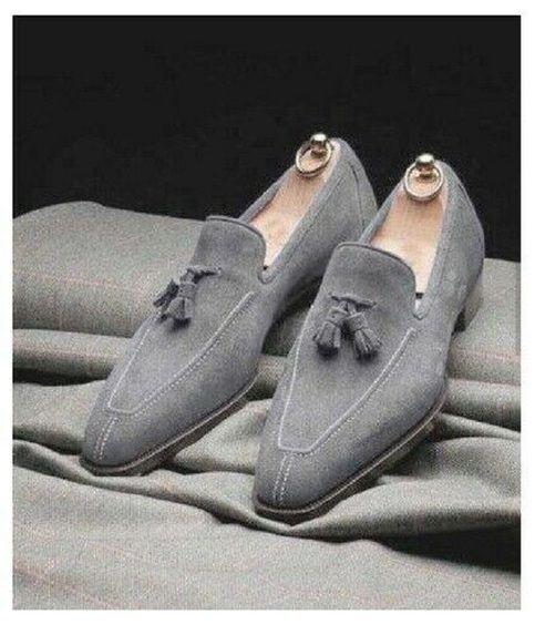 Handmade men light gray dress shoes
