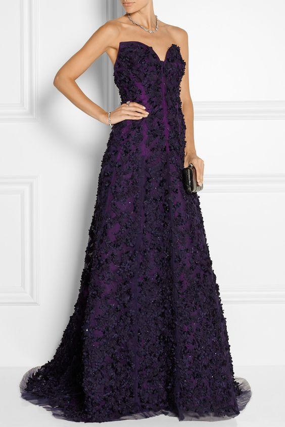 Oscar de la Renta | Embellished floral-appliquéd tulle and silk-organza strapless gown | NET-A-PORTER.COM