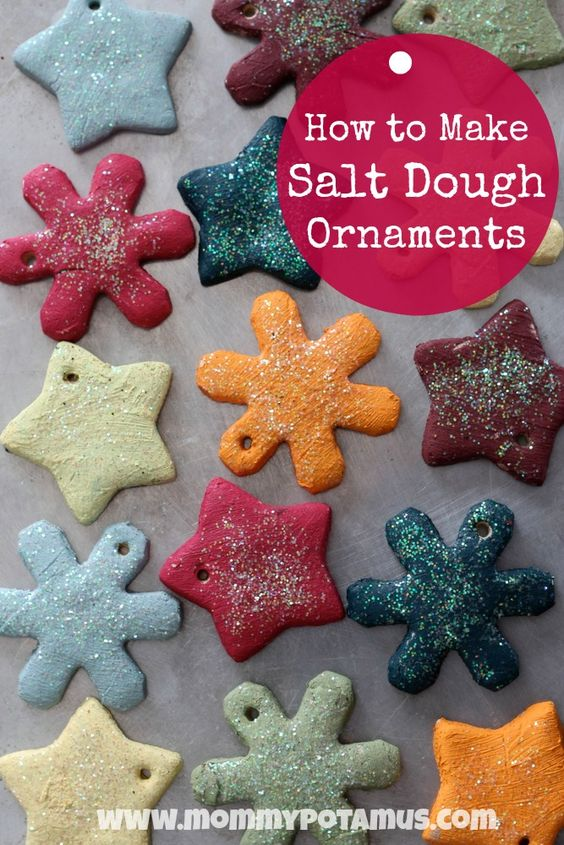 How To Make Salt Dough Ornaments - Fun, easy and makes a great keepsake! #homemadeornaments #holidaycrafts #saltdoughornaments: