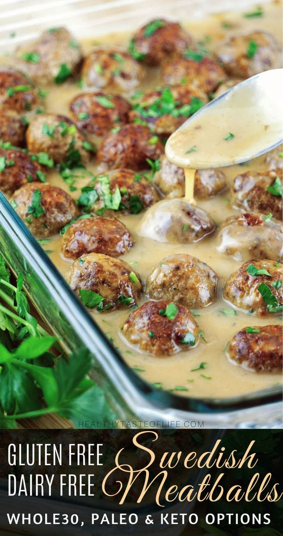 Healthy gluten free Swedish meatballs recipe (whole30, keto, paleo options)