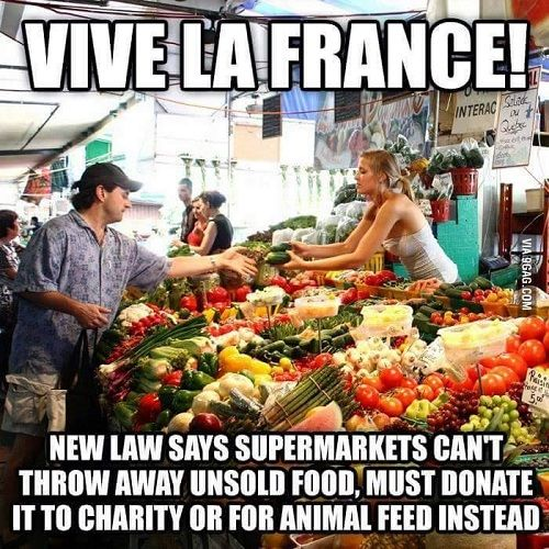 Fact: New law says supermarkets cannot throw away unsold food, Must donate it to charity or for animal feed instead,