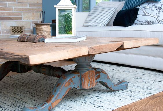 Salvaged Inspirations   Featuring Pleasant Pickin's Open House   Re-Purposed Coffee Table made from a Salvaged Dining Table!