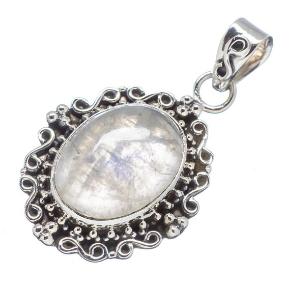 "Rainbow Moonstone 925 Sterling Silver Pendant 1 1/2"" PD512148"
