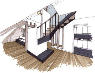 Croquis architecture int rieure recherche google for Design d interieur dessin