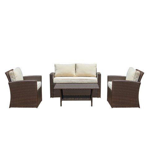 Kingsbury 4 Piece Rattan Sofa Seating Group With Cushions Patio Furniture For Sale Sofa Set Outdoor Sofa Sets